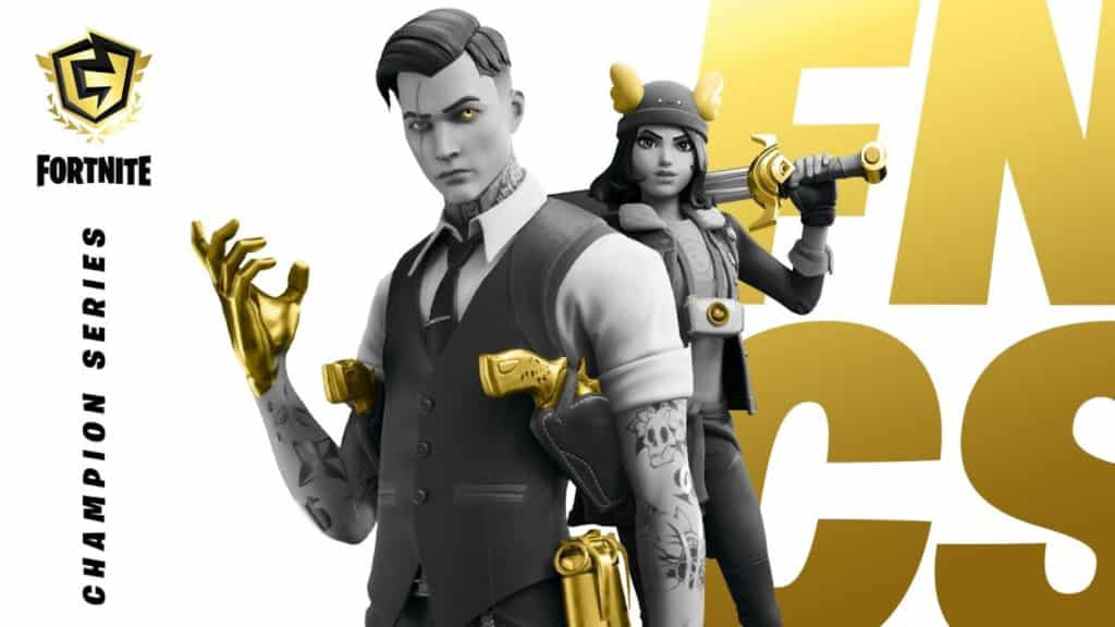 Two Fortnite agents in formal attire stand next to the letters FNCS in gold and the FNCS logo in the top corner on a white background