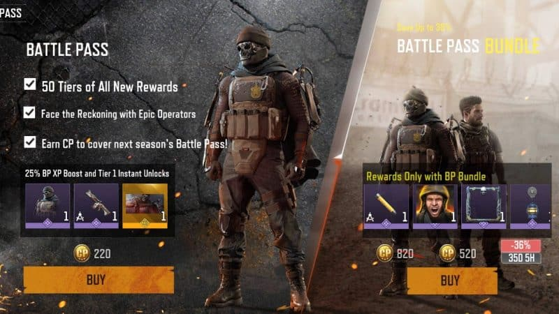 An in-game screenshot showing both the premium battle pass and the premium battle pass bundle available for sale